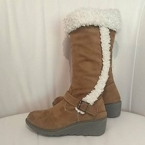 Tall Sherpa Trim Wedge Boots